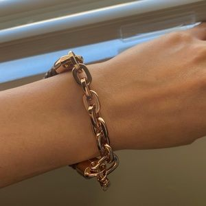 Miansai Rose Gold Chunky Chain/Leather Bracelet